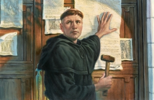 luther hammers 95 theses church door of wittenberg